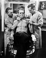 0120927 © Granger - Historical Picture ArchiveFILM: FRANKENSTEIN, 1931.   Boris Karloff having makeup applied for his role as the Monster in the 1931 film.