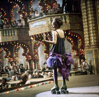 0120648 © Granger - Historical Picture ArchiveFILM: FUNNY GIRL, 1968.   Barbra Streisand, performing on roller skates, starring in the film based on the life of the American comedienne Fanny Brice, 1968.
