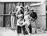 0057324 © Granger - Historical Picture ArchiveFILM: THE MISFITS, 1961.   Clockwise from top: Arthur Miller, Eli Wallach, John Huston, Montgomery Clift, Marilyn Monroe and Clark Gable. Photographed on location while filming 'The Misfits,' 1961.