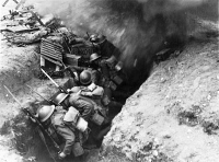 0623658 © Granger - Historical Picture ArchiveMADEMOISELLE FROM ARMENTIERES.   British silent film. British soldiers in a World War I trench in 'Mademoiselle from Armentieres' from MGM. Film still, 1926.
