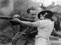 0623663 © Granger - Historical Picture ArchiveMADEMOISELLE FROM ARMENTIERES.   British silent film. Estelle Brody as the Mademoiselle and John Stuart as Johnny in 'Mademoiselle from Armentieres' from MGM. Film still, 1926.