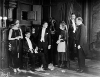 0623749 © Granger - Historical Picture ArchiveSHERLOCK JR., 1924.   American silent film. From left to right, Kathryn McGuire as The Girl, Joseph Keaton as The Girl's Father, Buster Keaton as Sherlock Jr., Jane Connelly as The Mother, Ward Crane as The Local Sheik, and Erwin Connelly as The Hired Man. 'Sherlock Jr.' directed by Buster Keaton. Film still, 1924.
