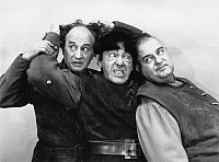 0267537 © Granger - Historical Picture ArchiveTHREE STOOGES, 1961.   Publicity still of Larry Fine, Moe Howard and Joe DeRita in 'Snow White and the Three Stooges,' 1961.