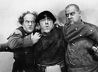 0267538 © Granger - Historical Picture ArchiveTHREE STOOGES, 1961.   Publicity still of Larry Fine, Moe Howard and Joe DeRita in 'Snow White and the Three Stooges,' 1961.