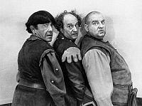 0267539 © Granger - Historical Picture ArchiveTHREE STOOGES, 1961.   Publicity still of Moe Howard, Larry Fine and Joe DeRita in 'Snow White and the Three Stooges,' 1961.