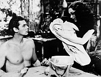 0040738 © Granger - Historical Picture ArchiveTARZAN: WEISSMULLER, 1939.   Johnny Weissmuller and Maureen O'Sullivan as Tarzan and Jane in 'Tarzan Finds a Son,' 1939.