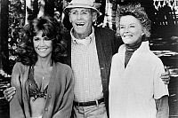 0054407 © Granger - Historical Picture ArchiveON GOLDEN POND, 1981.   Jane Fonda, Henry Fonda and Katherine Hepburn in a scene from the film.