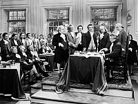 0075306 © Granger - Historical Picture ArchiveDECLARATION OF INDEPENDECE   A 20th century film depiction of the signing of the Declaration of Independence at Independence Hall in Philadelphia, Pennsylvania, 4 July 1776.