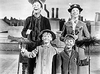 0088268 © Granger - Historical Picture ArchiveMARY POPPINS, 1964.   Film still with Dick Van Dyke as Bert, Julie Andrews as Mary Poppins, Matthew Garber as Michael and Karen Dotrice as Jane.