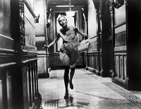 0122864 © Granger - Historical Picture ArchiveROSEMARY'S BABY, 1968.   Mia Farrow, as Rosemary, running down a hallway at the Dakota on Central Park West, New York, in 'Rosemary's Baby' directed by Roman Polanski, 1968.