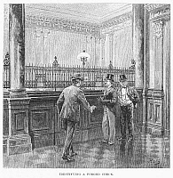0091713 © Granger - Historical Picture ArchiveCHECK FORGER, 1890.  A check forger is caught at a New York bank. Wood engraving, American, 1890.