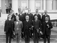 0107665 © Granger - Historical Picture ArchiveFEDERAL RESERVE, 1914.   District Governors of the Federal Reserve. Front: E.R. Francher of Cleveland; George Seay of Richmond; Joseph McCord of Atlanta; Theodore Wold of Minneapolis; Charles Sawyer of Topeka. Back: Charles Rhoads of Philadephia; Oscar Wells of Houston; Alfred Aiken of Boston; Benjamin Strong of New York, Archibald Kains of San Francisco.