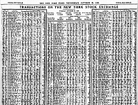 0002819 © Granger - Historical Picture ArchiveWALL STREET CRASH, 1929.   A portion of the stock reports from the 30 October 1929 issue of the New York Times, showing 16,410,030 shares sold on the New York Stock Exchange the previous day.