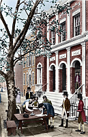 0118037 © Granger - Historical Picture ArchiveNEW YORK STOCK EXCHANGE.   Diorama of the founding of the New York Stock Exchange under a Buttonwood tree on 17 May 1792. Photograph, digitally colored by Granger, NYC -- All right