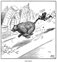 0002798 © Granger - Historical Picture ArchiveWALL STREET CRASH, 1929.   'Tail Holt.' Wall Street out of control in early October 1929, a prescient cartoon by Rollin Kirby published in 'The New York World', three weeks before the beginning of the stock market crash on October 24, 1929.