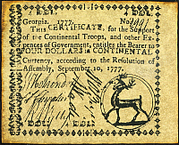 0010826 © Granger - Historical Picture ArchiveGEORGIA BANKNOTE, 1777.   Four dollar banknote, 1777, issued 'for the support of the Continental Troops and other expences of Government.'