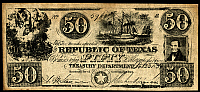 0072278 © Granger - Historical Picture ArchiveTEXAS BANKNOTE, 1839.   Fifty dollar banknote issued by the Treasury Department of the Republic of Texas, 23 Ocotber 1839.