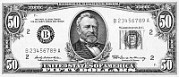 0076188 © Granger - Historical Picture ArchiveFIFTY DOLLAR BILL.   President Ulysses S. Grant on the front of a U.S fifty dollar note, 1969.