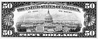 0076189 © Granger - Historical Picture Archive50 DOLLAR BILL.   The back of a U.S fifty dollar note.