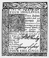 0076233 © Granger - Historical Picture ArchiveDELAWARE BANKNOTE, 1776.   Four shilling paper bill, 1776.