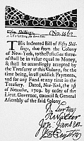 0076234 © Granger - Historical Picture ArchiveINDENTED BANKNOTE, 1709.   New York fifty shilling indented paper bill, 1709.