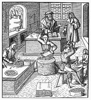 0091729 © Granger - Historical Picture ArchiveMINTING COINS, c1515.   The minting of coins. Woodcut, German, by Hans Burgkmair, c1515.