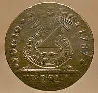 0120580 © Granger - Historical Picture ArchiveFUGIO CENT, 1787.   Face of an American one cent coin minted by authority of Congress in 1787. The coin, also known as the 'Franklin' cent, bears the inscription 'Mind Your Bussines.'