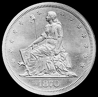 0124905 © Granger - Historical Picture ArchiveU.S. SILVER DOLLAR, 1870.   Seated figure of Liberty on the obverse of a U.S. silver dollar, 1870.