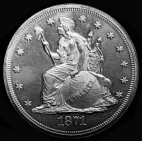 0124906 © Granger - Historical Picture ArchiveU.S. SILVER DOLLAR, 1871.   Seated figure of Liberty, represented as a Native American princess, on the obverse of a U.S. silver dollar, 1871.