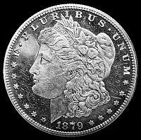 0124907 © Granger - Historical Picture ArchiveU.S. SILVER DOLLAR, 1879.   Morgan head type U.S. silver dollar, featuring a representation of the goddess Liberty, 1879.