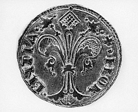 0165634 © Granger - Historical Picture ArchiveITALIAN COIN: FLORIN.   A florin, gold coin of the Republic of Florence, Italy, with fleur de lis design, 14th-15th century.