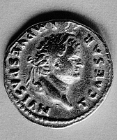 0260769 © Granger - Historical Picture ArchiveVESPASIAN (9-79 A.D.).   Emperor of Rome, 69-79 A.D. Obverse of a Judea Capta coin, issued under Vespasian's reign in commemoration of Rome's suppression of the Jewish Revolt.