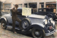0049525 © Granger - Historical Picture ArchiveSTOCK MARKET CRASH.   An unlucky speculator, one Walter Thornton of New York, offering to sell his roadster after the stock market crash: oil over a photograph, Oct. 30, 1929.