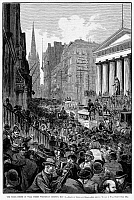 0089229 © Granger - Historical Picture ArchiveBANK PANIC, 1884.   Wall Street, New York, during the panic of 1884, caused by the sudden failure of the Grant and Ward Bank. Wood engraving from a contemporary American newspaper.