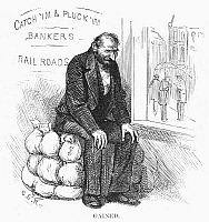 0091723 © Granger - Historical Picture ArchiveFINANCIER, CARTOON, 1873.   A banker at the 'Catch'im & Pluck'im' establishment sitting on his gains. Cartoon comment on the panic of 1873 from a contemporary American newspaper.
