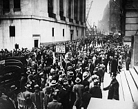 0173485 © Granger - Historical Picture ArchiveWALL STREET CRASH, 1929.   Crowds gathered outside the New York Stock Exchange on Broad Street as stock prices collapse, late October 1929.