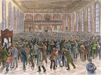 0048720 © Granger - Historical Picture ArchiveCHICAGO STOCK EXCHANGE.   The trading floor: wood engraving, American, 1883.