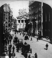 0106348 © Granger - Historical Picture ArchiveFINANCIAL CENTRE, c1900.   The corner of Broad Street and Wall Street, New York City. Stereograph, c1900.