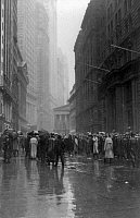 0106364 © Granger - Historical Picture ArchiveSTOCK BROKERS, c1922.   Crowd of men involved in curb exchange trading on Broad Street during a rainy day, New York City. Photograph, c1922.