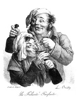 0002198 © Granger - Historical Picture ArchiveWINE DRINKING, 1840.   'La Felicité Parfaite' (Perfect Bliss). Lithograph, c1840, by Louis-Leopold Boilly.