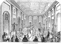 0077383 © Granger - Historical Picture ArchiveENGLAND: BANQUET, 1853.   'Grand banquet in the Town-Hall, Liverpool.' Wood engraving, English, 1853.