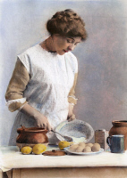 0078443 © Granger - Historical Picture ArchiveCOOKING, c1900.   Oil over a photograph.