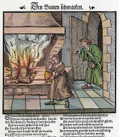 0395107 © Granger - Historical Picture ArchiveCOOKING: ROAST, c1530.   Smelling the roast. Woodcut, c1530.