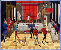 0077492 © Granger - Historical Picture ArchiveBANQUET, 15th CENTURY.   The table service of a lady of quality: miniature from the 15th century French manuscript of the 'Romance of Renaud de Montauban'.