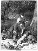0370469 © Granger - Historical Picture ArchiveTRUFFLE HUNTERS, 1869.   Hunters using dogs to find truffles in the forest. Wood engraving, English, 1869.