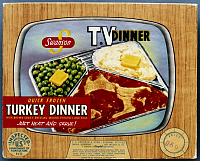 0115210 © Granger - Historical Picture ArchiveTV DINNER, 1954.   Packaging for Swanson's turkey TV dinner, 1954, designed to resemble a television set.