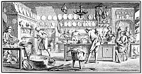 0077490 © Granger - Historical Picture ArchivePATISSERIE, 18th CENTURY.   A patisserie specializing in game pies. Line engraving, French, 18th century.
