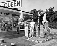 0528488 © Granger - Historical Picture ArchiveDAIRY QUEEN, 1950.   A Dairy Queen stand in Buzzards Bay, Massachusetts. Photograph, 1950.
