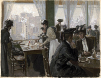 0622684 © Granger - Historical Picture ArchiveBACHER: RESTAURANT, c1901.   Women in a restaurant in a tall building. Wash drawing by Otto H. Bacher, c1901.