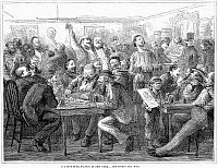 0089276 © Granger - Historical Picture ArchiveNEW YORK: SALOON, 1870.   Discussing the Franco-Prussian War at a German beer saloon in New York. Wood engraving, American, 1870.